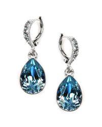Givenchy Blue Silver Tone Aqua and Sapphire Crystal Teardrop Earrings