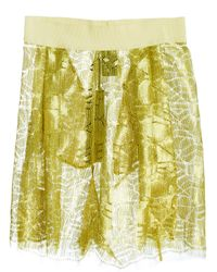Damir Doma Metallic Damir Doma Womens Pantar Front Pleat Geometric Shorts