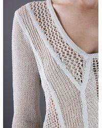 Helmut Lang Natural Crochet Knit Jumper