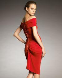 Lanvin - Red Off-shoulder Ruched Dress - Lyst