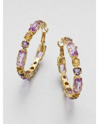 Kate Spade | Purple Multicolor Stone Hoop Earrings | Lyst