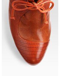 Rebecca Minkoff - Orange Dameon Laceup Lizardprint Leather Ankle Boots - Lyst