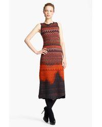 Missoni   Red Knit Midi Dress   Lyst
