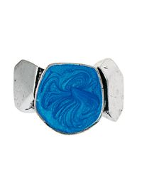 ASOS - Metallic Cracked Precious Stone Ring - Lyst