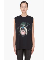 Givenchy Black Rottweiler Print Cotton Jersey Tank Top