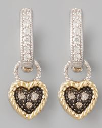 Jude Frances | Metallic Diamond Heart Earring Charms | Lyst