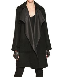 Karl Lagerfeld - Black Leather Wool Cloth Coat - Lyst