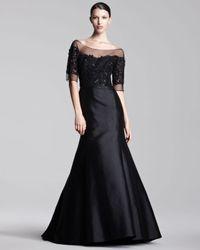 Lela Rose | Black Tulletop Gown | Lyst