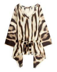 Roberto Cavalli   Brown Printed Silk Blouse   Lyst