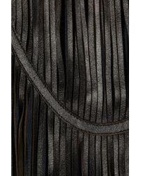 Theyskens' Theory Black Leather-fringed Jersey Dress