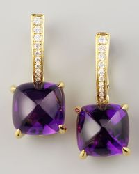 Frederic Sage | Metallic Clip Amethyst Diamond Drop Earrings | Lyst