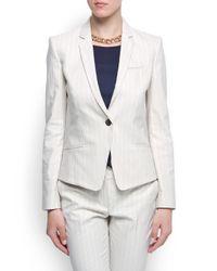 Mango White Slimfit Striped Blazer