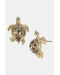 Betsey Johnson   Metallic Gold-tone Turtle Stud Earrings   Lyst