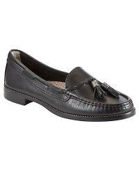 John Lewis Capri Leather Tassel Loafers Black