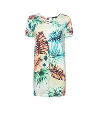 Mango White Hawaiian Print Dress