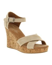 TOMS Natural Strappy Wedge Sierra
