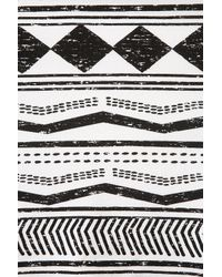 TOPSHOP Black Aztec Stripe Flippy Hem Tunic