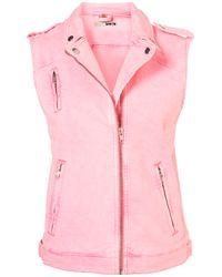 TOPSHOP Pink Oversized Sleeveless Biker Jacket