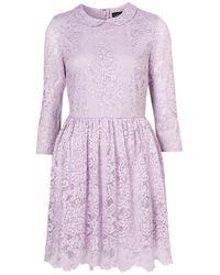 TOPSHOP Purple Lace Peter Pan Dress