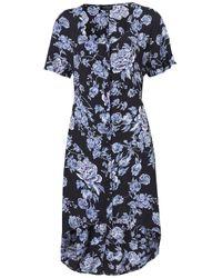 TOPSHOP Blue Flower Dip Hem Tea Dress