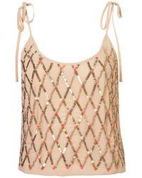 TOPSHOP Pink Crisscross Embellished Cami