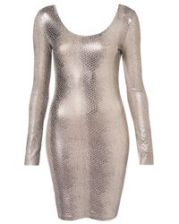 TOPSHOP Metallic Snake Bodycon Dress