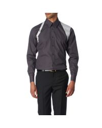 Alexander McQueen Gray Contrast Slim Fit Single Cuff Harness Shirt for men