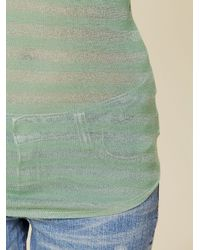 Free People - Green Lurex Stripe Henley - Lyst