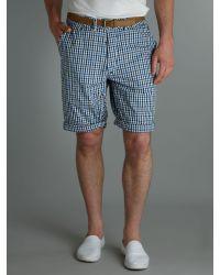 J.C. RAGS Blue Regular Fit 2 Ton Gingham Shorts for men