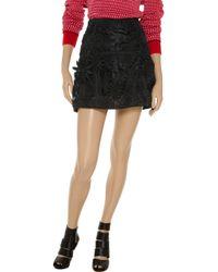 Marni Black Embroidered Organza Mini Skirt