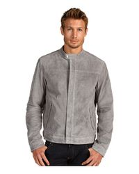 Michael Kors Gray Perforated Suede Racer Jacket for men