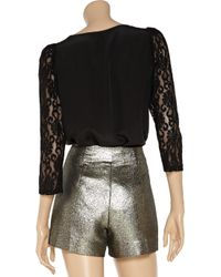 Rebecca Minkoff Black Constance Lace and Silk Top
