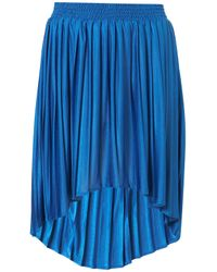 TOPSHOP Blue Pleated Dip Hem Skirt