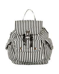 TOPSHOP Black Monochrome Striped Backpack