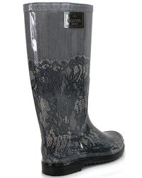 Valentino - Gray Lace Print Rain Boot - Lyst