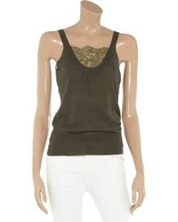 Valentino Roma Green Lacetrimmed Fineknit Top