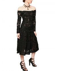 Ferragamo | Black Wool Crochet Macramè Dress | Lyst