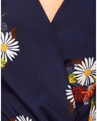 Oasis Blue Daisy Wrap Playsuit