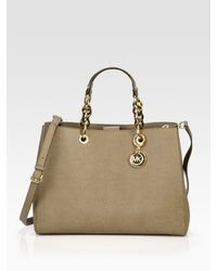 7ae2f7e8f3b79 Lyst - MICHAEL Michael Kors Large Saffiano Leather Satchel in Brown
