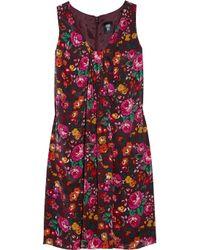 Anna Sui Multicolor Floralprint Silk Dress