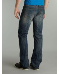 Armani Jeans Blue Straight Fit Dirty Wash Jeans for men