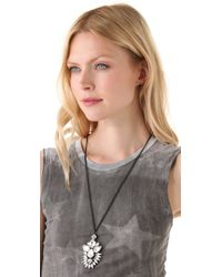 Noir Jewelry | White Nightfall Pendant Necklace | Lyst