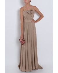 Elie Saab - Brown Strapless Bow Gown - Lyst