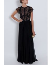 Elie Saab - Red Cap Sleeve Lace Body Gown - Lyst
