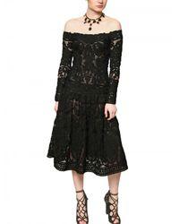 Ferragamo | Black Wool Crochet Macramè Dress | Lyst
