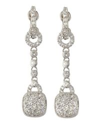 Judith Ripka | Metallic Pave Cushiondrop Earrings | Lyst