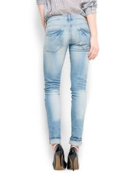 Mango Blue Ripped Jeans