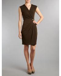 MICHAEL Michael Kors Brown Cap Sleeve Wrap Dress with Pin