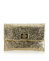 Anya Hindmarch | Black Valorie Glitterfinished Leather Clutch | Lyst