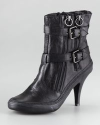 Ash Black Penny Buckle Leather Ankle Boot
